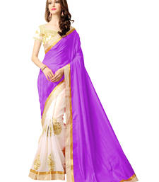 Buy Purple embroidered silk saree with blouse paithani-saree online