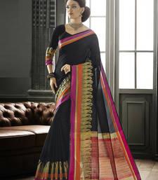 Buy Black woven silk saree with blouse art-silk-saree online