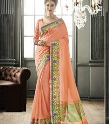 Buy Light orange woven silk saree with blouse art-silk-saree online