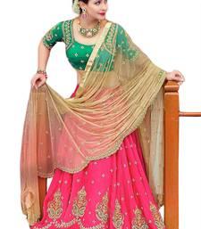 Buy Pink embroidered georgette unstitched lehenga choli navratri-lehenga-chaniya-choli online