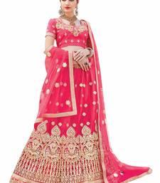Buy Pink embroidered net unstitched lehenga net-lehenga online