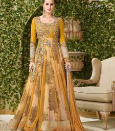 Buy Yellow embroidered banglori silk salwar with dupatta semi-stitched-salwar-suit online