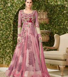 Buy Purple embroidered banglori silk salwar with dupatta anarkali-salwar-kameez online