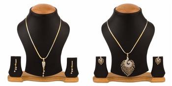 Amercan Diamond Pendant Necklace Set Combo for Women & Girls