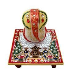 Buy Marble Chowki Ganesh sculpture online