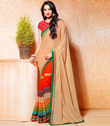 Buy Orange And Chickoo Printed Work Crepe And Silk saree with blouse party-wear-saree online