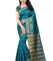 Buy Green hand woven banarasi silk saree with blouse banarasi-silk-saree online