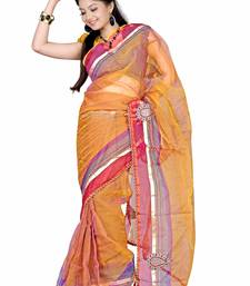Buy Beige Embroidered Tissue Saree With Blouse tissue-saree online