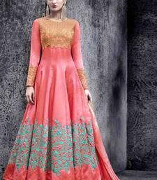 Buy Peach multi head work silk salwar with dupatta anarkali-salwar-kameez online