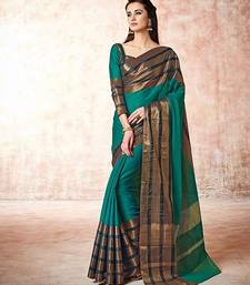 Buy Green hand woven cotton saree with blouse cotton-saree online