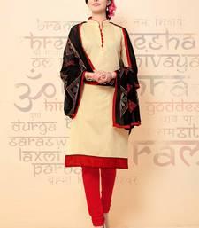 Buy Cream plain chanderi salwar with dupatta salwar-kameez online