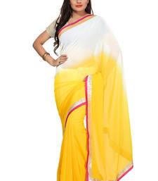 Buy Yellow Embroidered Chiffon Saree With Blouse chiffon-saree online
