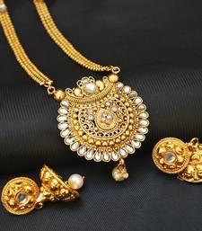 Buy Elegant Long Stone Studded Round Design necklace set necklace-set online