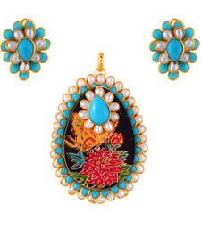 Buy tourquoise enamel work flower pendant with pacchi work Pendant online