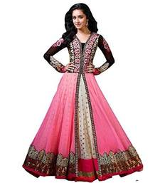 Buy Pink embroidered net semi stitched long anarkali dress anarkali-salwar-kameez online