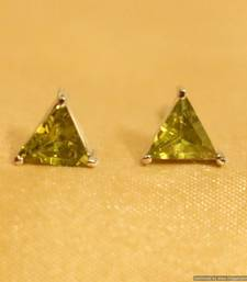 Buy Green Garnet Silver Plated Triangle Shaped Studs stud online
