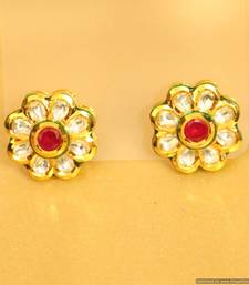 Buy Ruby Kundan Meenakari Flower Shaped Studs stud online