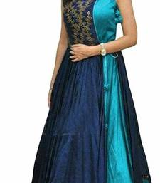 Buy Blue embroidered faux taffeta  party-wear-gowns party-wear-gown online