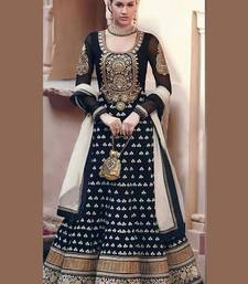 Buy Black Embroidered Georgette Semi-Stitched Churidar Anarkali Suit semi-stitched-salwar-suit online