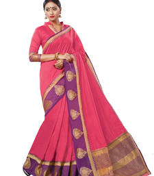 Buy Pink woven chanderi saree with blouse chanderi-saree online