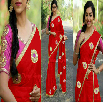 Red embroidered chanderi saree with blouse