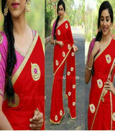 Buy Red embroidered chanderi saree with blouse chanderi-saree online