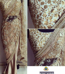 Buy Coffee embroidered net saree with blouse bollywood-saree online