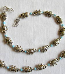 Buy Elephant GERMAN SILVER blue BEADS DELICATE ANKLETS payal pair anklet online