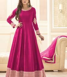 Buy Rani pink multi resham work banarasi silk salwar with dupatta abaya-suit online