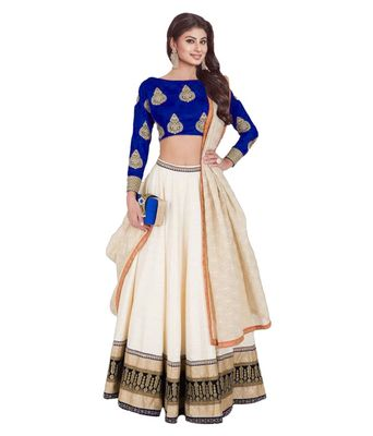 Cream embroidered dupion silk unstitched lehenga with dupatta