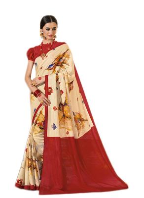 Cream printed manipuri silk saree with blouse
