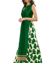 Buy Green printed silk unstitched lehenga with dupatta lehenga-choli online