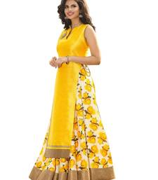Buy Yellow printed silk unstitched lehenga with dupatta lehenga-choli online