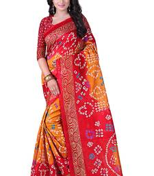 Buy Red printed bhagalpuri saree with blouse below-1500 online