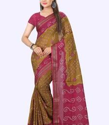 Buy Pink printed art silk saree with blouse bandhani-sarees-bandhej online