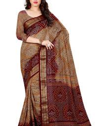 Buy Brown printed art silk saree with blouse bandhani-sarees-bandhej online