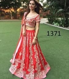 Buy Red embroidered silk unstitched lehenga with dupatta lehenga-choli online