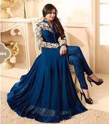 Buy Blue embroidered georgette salwar party-wear-salwar-kameez online