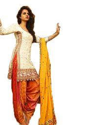 Buy White embroidered cotton salwar Woman online