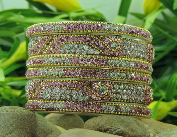 Pink Crystal Bangle With golden chain