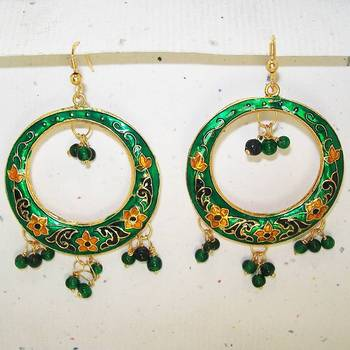 Meenakari Baali Danglers (Green Black)