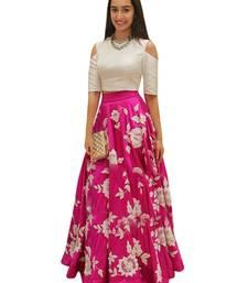 Buy Pink embroidered silk unstitched lehenga lehenga-choli online