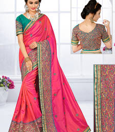 Buy Baby pink hand woven silk saree with blouse silk-saree online