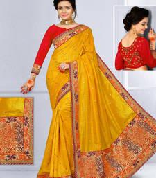 Buy Yellow hand woven jute saree with blouse jute-saree online