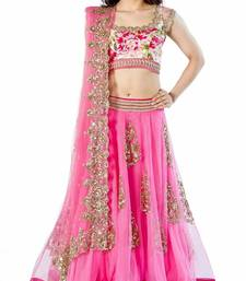 Buy Pink embroidered net unstitched lehenga with dupatta lehenga-below-3000 online
