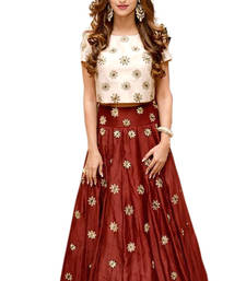 Buy Maroon embroidered silk unstitched lehenga with dupatta black-friday-deal-sale online