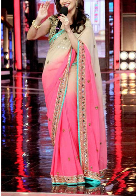 PINK WHITE GEORGETTE EMBROIDARY WORKED PADDING SAREE WITH BLOUSE