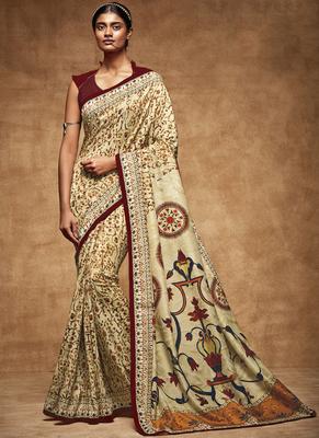 Cream printed pure tussar silk saree with blouse