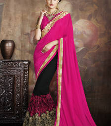 Buy Magenta embroidered georgette saree with blouse wedding-saree online
