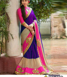 Buy Multicolor embroidered paper cotton saree with blouse wedding-season-sale online